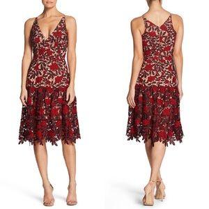 Dress the Population Lily Plunge Lace Dress Medium